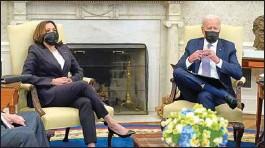 ?? PTI ?? President Joe Biden and Vice President Kamala Harris in Oval Office of the White House in Washington