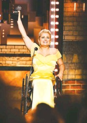 "?? CHARLES SYKES/INVISION/ASSOCIATED PRESS ?? Ali Stroker dedicated her Tony Award to ""every kid who . . . has a disability, who has a limitation or a challenge."""
