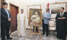 ?? Chris Whiteoak / The National ?? Ary Scheffer's masterpiece is presented to Dr Hamed Bin Mohamed Khalifa Al Suwaidi