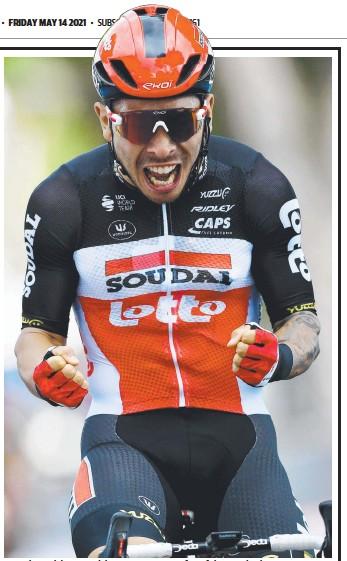 ??  ?? Australia's Caleb Ewan celebrates winning stage five of the Giro d'Italia. Picture: Getty