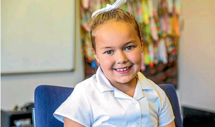 ??  ?? Grace Galloway, 6, says her mum is special because she looks after her. ''She gives me a wet towel if I scrape my leg,'' Grace says.