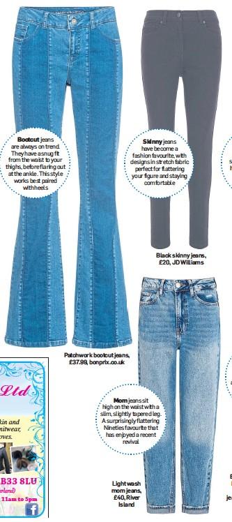 ??  ?? Patchwork bootcut jeans, £37.99, bonprix.co.uk Light wash mom jeans, £40, River Island
