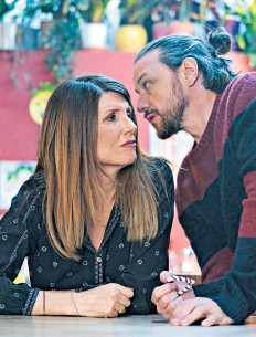 ??  ?? Hostility: Sharon Horgan as She and James McAvoy as He are trapped together