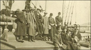 ?? — Submitted photo ?? Anthony Tooton (sitting on mast, with feet dangling) on board the ship that brought him to St. John's in 1904.