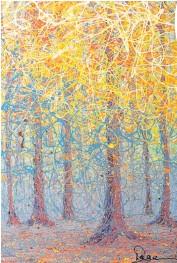??  ?? L'artiste Dage utilise une technique qui consiste à peindre une toile avec de la peinture qui coule d'une spatule. «La peinture quitte le bâton, mais sans qu'il touche à la toile», dit-elle.