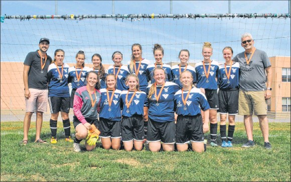 ??  ?? The Northern Nova United Falcons U17 girls team won silver at the Bruce Wagner Memorial Tournament this weekend. In front from left are: Megan MacKenzie, Victoria Dunn, Hayley Nichol, Tess Murray, Jenny Ferrara. Missing from the photo are KJ Emery, Tori Whittemore and Alma Ianta. In back from left are: coach Zachary Langlois, Abbey Munroe, Anastasia van Zyl, Madison Bond, Emily MacKenzie, Alicia Thomsen, Madeline Schnare, Emma Martin, Georgia Murray, Maya Goldchtaub and coach Sean Murray.