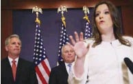 ??  ?? Stefanik speaks to members of the press after an election for House Republican Conference chair. In the background are as House Minority Leader Kevin McCarthy and and House Minority Whip Steve Scalise.