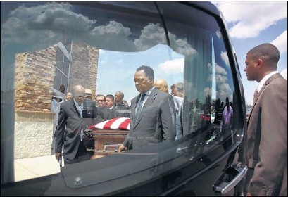 """?? MIKE BROWN/THE COMMERCIAL APPEAL ?? """"You belong to us forever, Bobby,"""" said Jesse Jackson, speaking at the funeral of Bobby """"Blue"""" Bland. Jackson also served as a pall bearer, carrying the casket to a hearse outside First Baptist Church-Broad. The procession later traveled down Beale,..."""