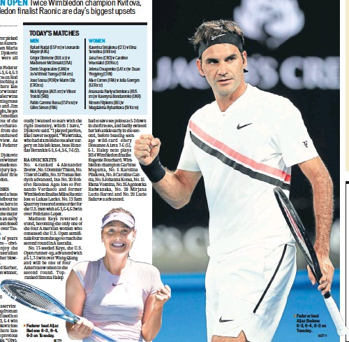 ?? GETTY ?? Federer beat Aljaz Bedene 63, 64, 63 on Tuesday.