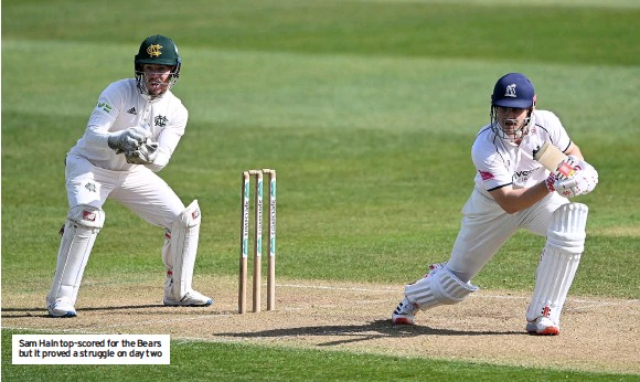 ??  ?? Sam Hain top-scored for the Bears but it proved a struggle on day two