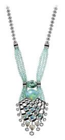 ??  ?? Matsuri necklace in platinum with a 14.82-carat opal, a 7.25-carat tourmaline, tourmaline beads, onyx and diamonds