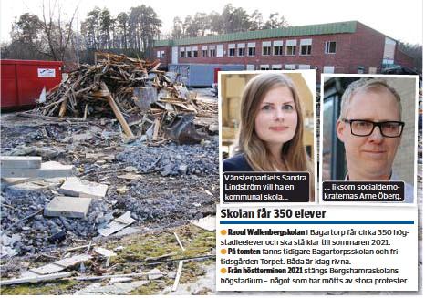 ?? FOTO: LEIF OLDENBURG ?? NYBYGGE. Rivningen av fritidsgården Torpet. Även Bagartorpsskolan i bakgrunden är riven. Nu ska en ny högstadieskola byggas på tomten.