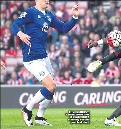 ??  ?? THUNDERBOLT: Lamine Kone fires in Sunderland's stunning second goal last night