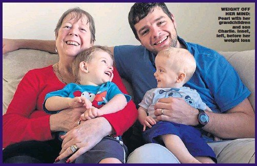 ??  ?? WEIGHT OFFHER MIND: Pearl with her grandchildrenand son Charlie. Inset, left, before herweight loss