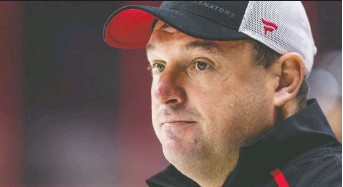 """?? ERROL MCGIHON ?? Coach D.J. Smith says """"identity,"""" including goals-against, is something the Senators need to work on as they prepare for next year."""
