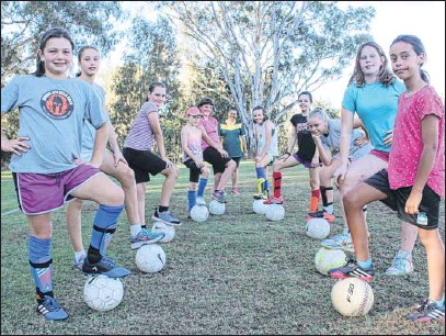 ?? PHOTO: Justin Jenvey ?? NEW SIDE: Myrtleford Savoy will add an under-13 girls side to their juniors this season.