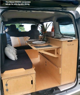 ??  ?? The Nissan NV200 conversion set-up for side-by-side dining