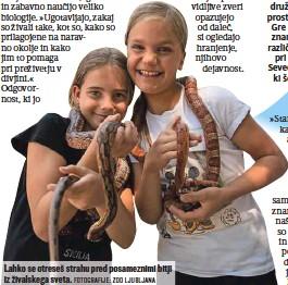 ?? FOTOGRAFIJE: ZOO LJUBLJANA ?? Lahko se otreseš strahu pred posameznimi bitji iz živalskega sveta.