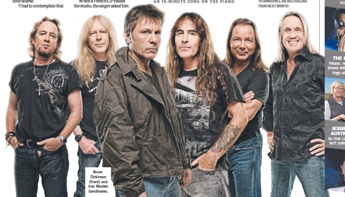 ??  ?? Bruce Dickinson (front) and Iron Maiden bandmates.