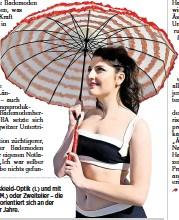 ??  ?? Ob Badeanzüge in Tenniskleid-optik (l.) und mit Schleifchen-verzierung (M.) oder Zweiteiler – die Mode von Katrin Werger orientiert sich an der Bademode der zwanziger Jahre.