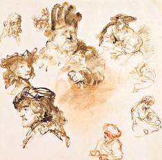 ??  ?? Strokes of genius: head studies by Rembrandt produced in the mid-1630s