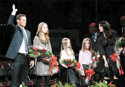 Image result for yzerman girls at retirement ceremony