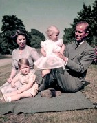 ?? BETTMANN ?? The Queen and the duke with children Charles and Anne in 1953