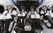 ?? Associated Press ?? Chris Sembroski (left), Sian Proctor, Jared Isaacman and Hayley Arceneaux sit in the capsule.