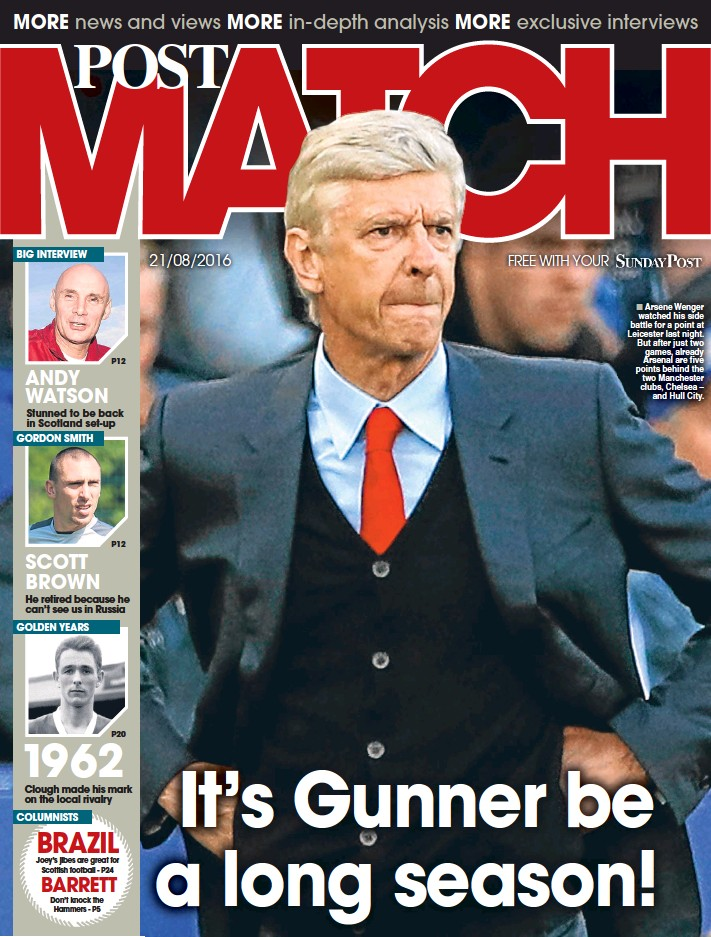 ??  ?? Arsene Wenger watched his side battle for a point at Leicester last night. But after just two games, already Arsenal are five points behind the two Manchester clubs, Chelsea – and Hull City.