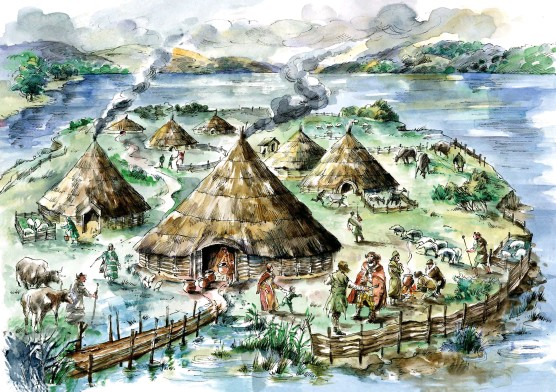 ??  ?? THE WAY WE WERE: An artist's im­pres­sion of what the Iron Age vil­lage at Black Loch of Myr­ton in Wig­town­shire might have looked like in the 5th Cen­tury BC
