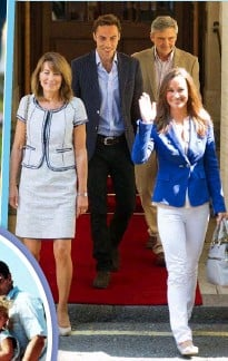 ??  ?? William and Kate want their trio to be as tight as the Middleton clan (below).