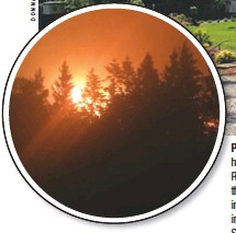 """??  ?? PARADISE: Donna Kamstra, who with her husband Tony owns Promise Ranch on the River (above, before the wildfire), describes the Oregon property as an """"incredible, incredible place."""" Inset: Donna captured this image of the approaching fires the night of September 7, 2020."""