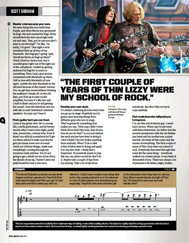 ??  ?? above Gorham in Thin Lizzy with Guns N' Roses guitarist Richard Fortus