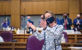 ?? EDDIE MOORE/JOURNAL ?? Sen. Mimi Stewart, D-Albuquerque, gestures after being elected Senate president pro tem Tuesday. Story on PAGE A4.