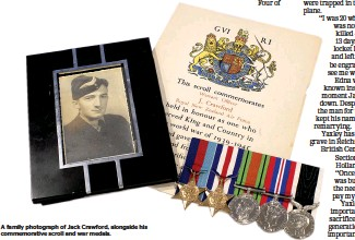 ??  ?? A family photograph of Jack Crawford, alongside his commemorative scroll and war medals.