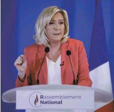 ?? FOTO: THOMAS SAMSON/AFP ?? Marine Le Pen, die Chefin des rechtspopulistischen Rassemblement National, hält wenig von der Energiegewinnung aus Windkraft.