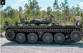 ??  ?? FIGHTING MACHINES Military establishments around the world are working on machines that don't need people: 1. Members of the Turkish Navy train with a drone; 2. The U.S.'S Expeditionary Modular Autonomous Vehicle (EMAV); 3. Russia's Eleron-3 unmanned drone; 4. Israel's Heron 1 drone; 5. a U.S. Marine practices maneuvering an EMAV; 6. A U.S. Sea Hunter unmanned ship; 7. Iran's Revolutionary Guard conducts a drill with missiles and drones earlier this year; 8. Marines practice a medical evacuation with an EMAV.