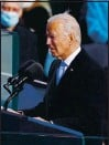 ?? ERIN SCHAFF — POOL, GETTY IMAGES ?? President Joe Biden delivers his inaugural address at the U.S. Capitol on Wednesday.