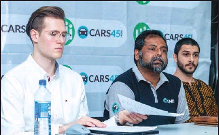 ??  ?? •From left: Makarchuk, Ganguly and Shenfeld at a media parley to announce a merger between Cars45 and Jiji in Lagos.
