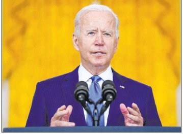 ?? Evan Vucci The Associated Press file ?? President Joe Biden delivers remarks at the White House on Sept. 16. Biden will address the United Nations General Assembly on Tuesday, hold a virtual COVID-19 summit on Wednesday and meet with Pacific allies at the White House on Friday.