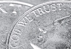 """?? TIM LOEHRKE, USA TODAY ?? """"In God We Trust"""" was first placed on a coin in 1864 largely because of increased religious sentiment during the Civil War."""