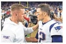 ?? WESLEY HITT/GETTY IMAGES ?? J.J. Watt, left, then with the Houston Texans, talks with quarterbac­k Tom Brady of the Patriots after a game on Dec. 1, 2019, in Houston.