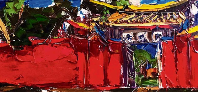 ??  ?? Liew's Confucian Temple West Dacheng Gate (oil on canvas, 2016).