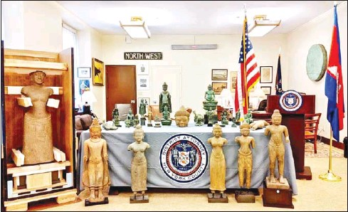 ?? SUPPLIED ?? The antiquities being returned by the US include Buddhist and Hindu statues with an estimated value of nearly $4 million.
