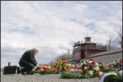 ?? (AP/Markus Schreiber) ?? German President Frank-Walter Steinmeier lays a wreath Sunday in Weimar on the 76th anniversary of the liberation of the Nazis' Buchenwald concentration camp.