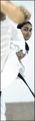 ?? Picture: GCINA NDWALANE ?? Karateka Elisha Naidoo lets you know who's in charge.