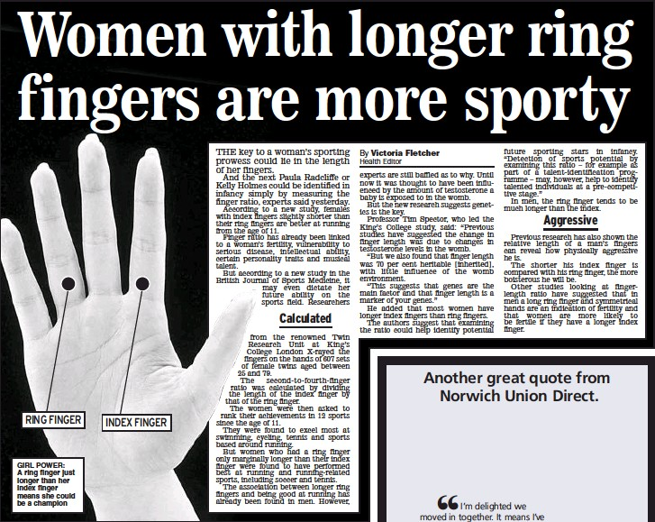 Pressreader Daily Express 2006 09 28 Women With Longer Ring Fingers Are More Sporty