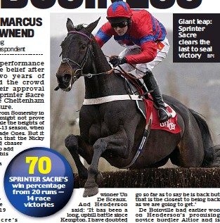??  ?? Giant leap: Sprinter Sacre clears the last to seal victory