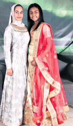 ??  ?? Grade 10 learners Mahdiya Bhayla and Seyuri Bhudu welcomed the guests on arrival