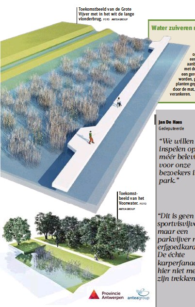 ?? FOTO ANTEAGROUP ANTEAGROUP FOTO ?? Toekomstbeeld van de Grote Vijver met in het wit de lange vlonderbrug. Toekomstbeeld van het Voorwater.